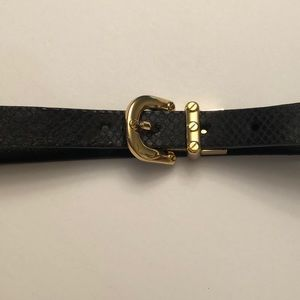 Michael Kors black leather belt/w gold buckle